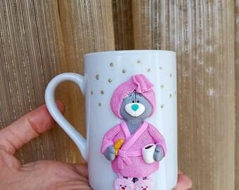 Ceramic mug polimer clay Чашка с декором