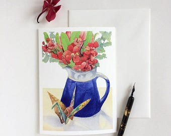 "Greeting card with envelope ""On folded wings"" - blank card for any occasion - paper crane & flowers - watercolour print"