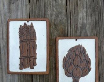 Victoria Littlejohn, ceramic art trivet, asparagus and artichoke, boho kitchen decor