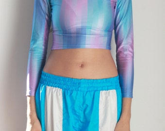 FANTASY TOP -cyber, 90s, spice girls, tshirt, pastel, gradient, blue, lilac, sexy, club kid, festival, party, cute, vaporwave, seapunk-