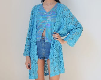 BLUE LACE ROBE -duster, 90s, kimono, summer, festival, boho, hippie, romantic, aesthetic, transparent, 3/4 sleeve, beach, sexy, party-