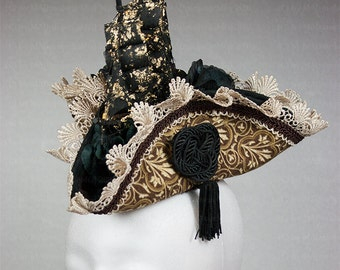 Exceptional, small tricorn hat with ship - UNIQUE-