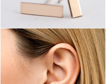 Bar Earrings, Simple Stud Earrings, Minimalist Earrings, Gold Bar Earrings  Simple Earrings, in 14kt Gold Filled, Sterling Silver [15mm]