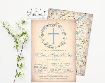 Floral Baptism Invitation Boy Blue Floral Christening , Naming Day, 1st Holy Communion, Dedication Invite Printable No.39BAPTISMBOY