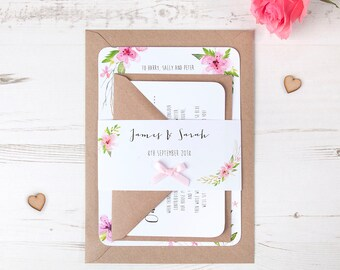 Pretty In Pink Floral Wedding Invitation on White Card