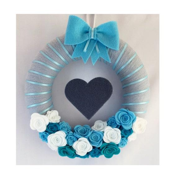 Blue wreath door wreath baby boy nursery decor nursery for Baby boy door decoration