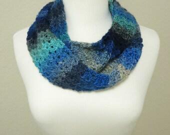 Blue Ombre Crochet Infinity Scarf