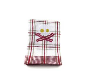 Skull and Cross Eggs and Bacon Embroidered Dish Towel