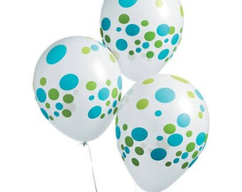 12/ Love my Polka Dots Blue and Green Balloons / Party Balloons / Polka dots / polka dots