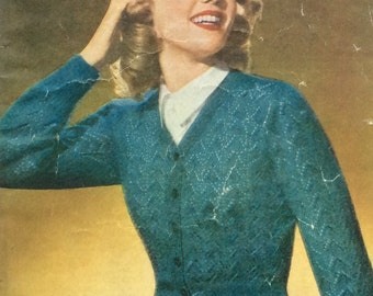 Vintage Knitting Pattern Ladies Lacy Cardigan and Raglan Cardigan