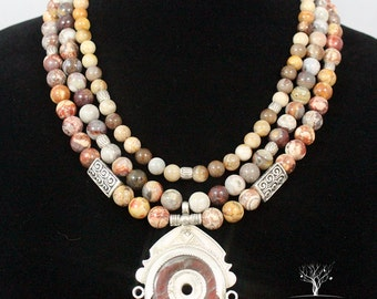 3 Strand Beaded Earth Tone Statement Necklace with Sterling silver accents.