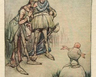 1916 Book Plate-Harold.C.Earnshaw-Fairy Tale-Artist signed-Elf-Fairy-Nursery-Home-Wall Decor