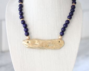 Navy and Gold Oyster Necklace