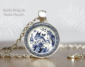 Delft Blue Bird Necklace, Antique Delft Design Jewelry, Dutch Pottery, Birds and flowers, Blue and White earrings, Delph circle pendant