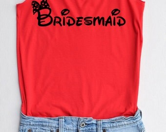 Flock Bridesmaid Minnie bow - Racer back,Bridesmaid shirt,Bridesmaid tank top,Team bride tank top,Bachelorette Party Tank Top,wedding shirt