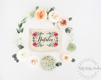 Personalized Makeup Bag | Personalized Pouch | Bridesmaid Gift | Pink and Peach Floral Frame | Personalized Zipper Pouch | Gift for Her