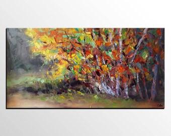 Landscape Art, Autumn Tree Painting, Abstract Art, Abstract Painting, Original Oil Painting, Canvas Art, Impasto Art, Wall Art, Large Art