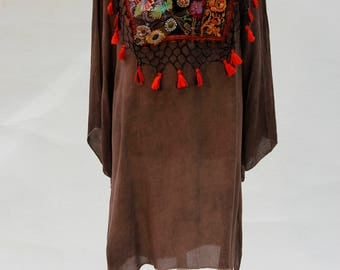 Embroidered Kaftan, Brown and Gold, Dress Boho, Hippie  Dress, Festival Dress, Embroidered Kaftan, Knee-lLength Dress, Altered Couture