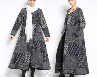 Anysize original asymmetry linen&cotton warm padded winter coat plus size clothing winter jacket F108A