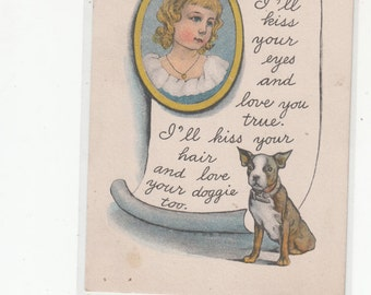 Valentine Greetings Girl In Locket And French Bulldog Sits At Bottom Poem/Greeting Antique Postcard