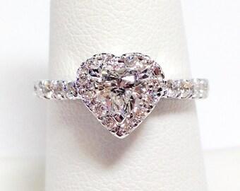1.00CT Diamond Heart Shape Halo Engagement Ring Anniversary Rings Wedding Band Promise Diamonds Platinum 18K 14K White Yellow Rose Gold