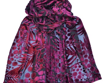 Black/Red, Small - Crepe silk, Mimosa, Devore scarf