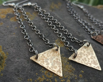 Hammered Brass Triangle Earrings // Textured Brass Triangle Earrings // Hammered Metal Geometrical Earrings