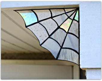 Stained Glass Spider Web Corner,Home decor, Garden decor,spider web decor, halloween decor, stained glass,garden, corners, magical, unique