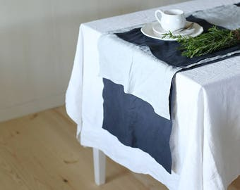 Handmade Washed Linen Table Placement | Charcoal Grey | Soft Linen | Table Set | Table Decoration | Home Decor | Kitchen Linens