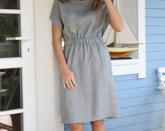 Linen Dress With Elastic Waist | Women Dress |  Dress With Side Pockets | Midi Dress | Soft Washed Linen Fabric | Kimono Sleeves