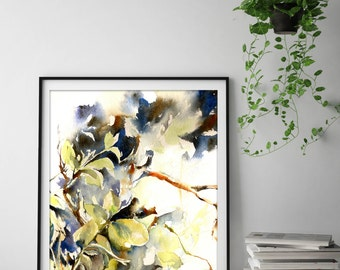 Green Leaves - Fine art print from original watercolor painting, nature painting, modern watercolour art