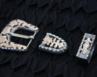 ANTIQUE Sterling Silver MEXICAN Belt Buckle Belt Loop and Belt Tip Set Set Signed Marked 925