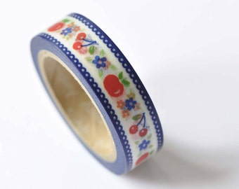 Cherry Apple Fruit Lace Edge Adhesive Washi Tape 15mm Wide x 10M Roll No.12490