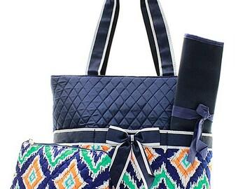 IKat Print Monogrammed Diaper Bag Navy Blue Trim