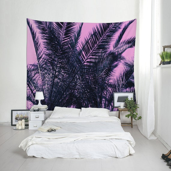 Pink Tree Tapestry, Bohemian Wall Art, Pink Tapestries, Tropical Art, Palm Tree Tapestry, Boho Decor