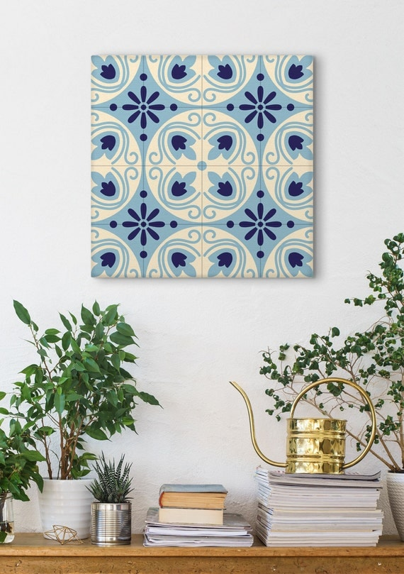 Spanish Tile Canvas Print, Graphic Pattern, Barcelona Tile, Modernist Decor, Traditional Wall Art, Canvas Wraps, Geometric Print