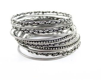 Vintage Silver Tone Multi Bracelet Skinny Bangles Boho Style