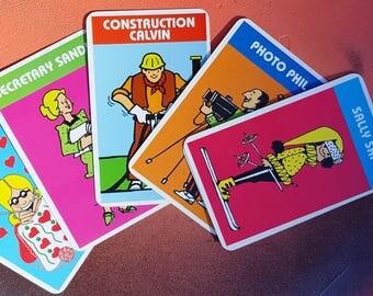 Vintage Old Maid Cards, Vintage Game Cards, Cards by Cardinal Sally Ski, Construction Calvin, Sally Ski, Photo Phil, Secretary Sandy