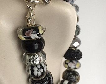 Black & White Murano European Bead Bracelet