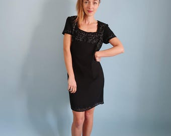 Vintage Beaded Black Short Sleeve Dress/Formal Dress