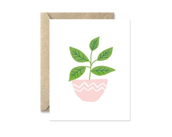 Potted Herbs Basil - Greeting Card