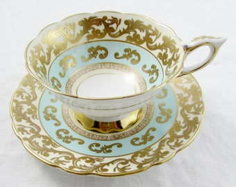Vintage Tea Cup and Saucer, Turquoise Blue with Gold Designs, Made by Royal Stafford, English Bone China