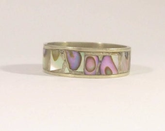 Silver Ring Abalone Shell Band Alpaca Mexico Vintage