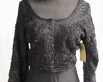 Medium/Large  Black  Sequined Top with Tie in Back