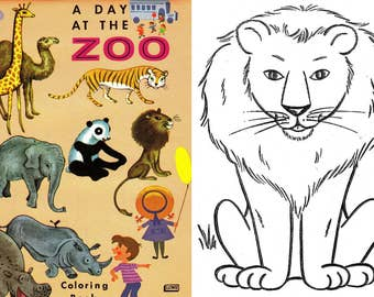 OFFER!! 5 Coloring books animals, animals to color, zoo, farm, 50's - 70's. Instant Download, PDF format (RM108-1)