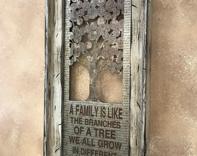 Wall Art FAMILY is like the branches of TREE Yet our roots remain one CREAM Framed Industrial Metal Home Decor Reclaimed White Wood Vertical