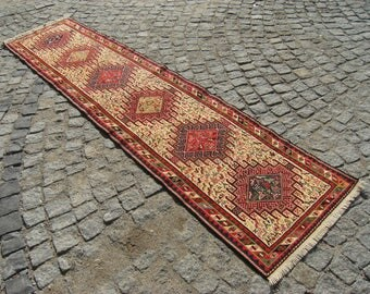 Perfect    Anatolian   Turkish   Animal   Figures    Sumac   Runner   Kilim  Rug  28,3'' X  114,1''  inches