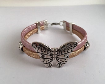 Artificial leather with butterfly 816 ref String Bracelet