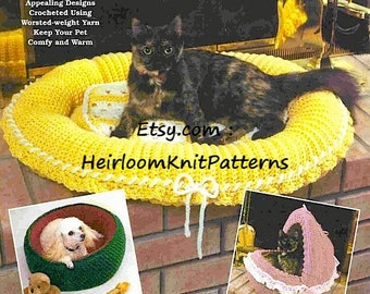 3 Designs Pet Beds Vintage Crochet Pattern Dog Bed Cat Bed Pet Bed Pet Nest Crochet Pattern Instant download Pet Crochet Pattern PDF - 1091