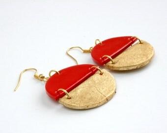 Red earrings, Gold earrings, Boho earrings, Geometric earrings, Statement earrings, Girlfriend gift, Wife gift, Round dangle earrings, gift